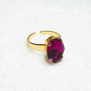 unique fuschia swarovski and gold statement ring