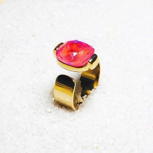 sparkly pink swarovski crystal and gold adjustable statement ring