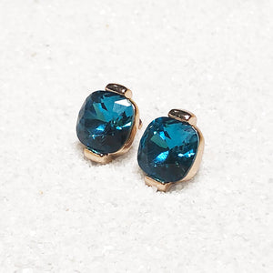 unique stud earrings rose gold and turquoise swarovski