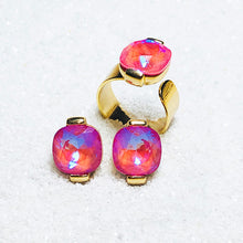 australian ethical jewellery pink swarovski elements and gold statement ring and stud earrings