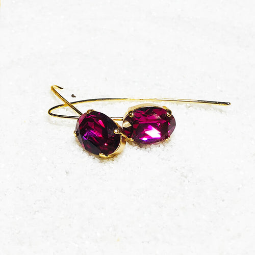 elegant gold dangle earrings with fuschia swarovski crystal