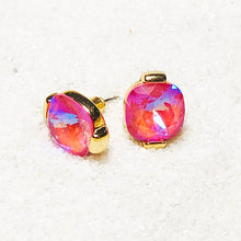 unique lotus pink swarovski crystal and gold stud earrings