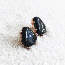 elegant stud earrings with black resin