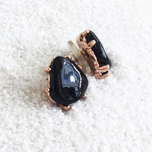 versatile stud earrings with black handcast natural resin