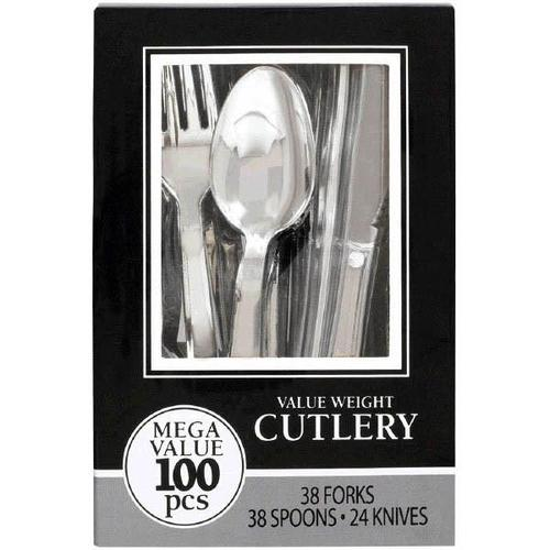Premium Silver Cutlery Set 100ct - Amscan