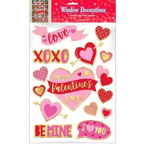 Valentine's Day Foil Window Decals