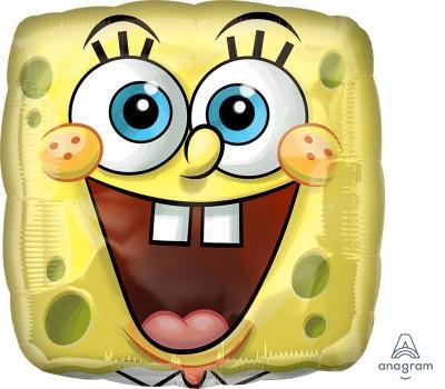 "17"" SpongeBob Square Face Foil Balloon - Flat - Anagram"