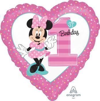 "17"" Minnie 1st Birthday Foil Balloon - Flat - Anagram"