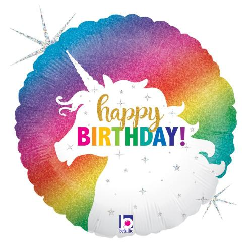 "Supershape Glitter Unicorn Birthday 36"" Balloon - Betallic"