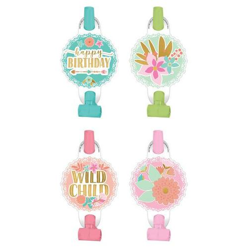 Boho Birthday Girl Blowouts 8ct - Amscan