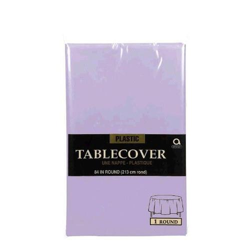 "Lavender 84"" Round Plastic Table Cover"