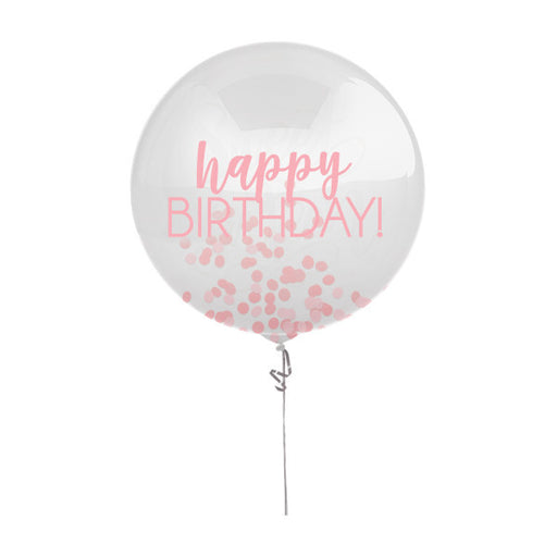 "Birthday Printed Latex Balloon with Confetti Pinks 24"" - Piñata District"