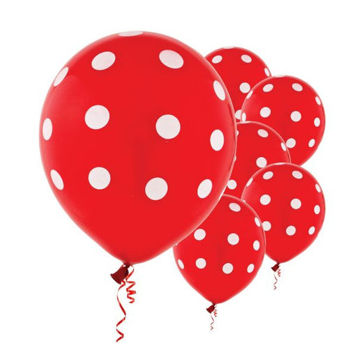Latex Balloons Red Dots All Over Print 6ct