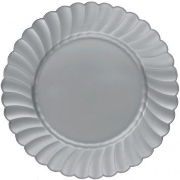 "Scalloped Plate 7 1/2"" Silver 12ct - Amscan"
