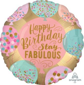 "17"" Happy Birthday Stay Fabulous Foil Balloon - Flat - Anagram"