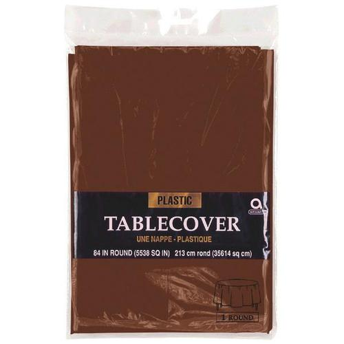 "Chocolate Brown 84"" Round Plastic Table Cover"