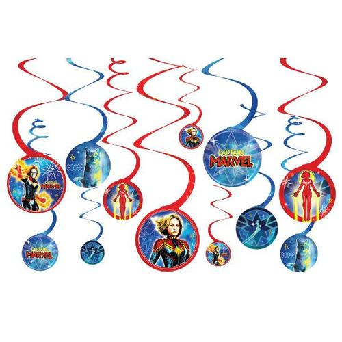 Captain Marvel Swirl Decorations 12ct
