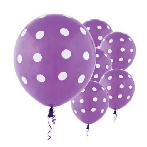 Latex Balloons Purple Dots All Over Print 6ct - Amscan