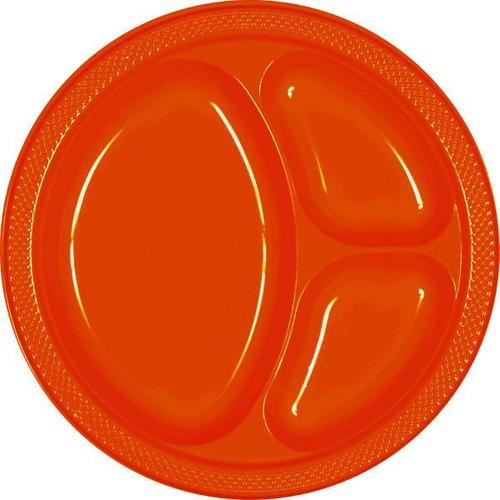"Orange Peel 10 1/4"" Divided Plastic Plates 20ct - Amscan"