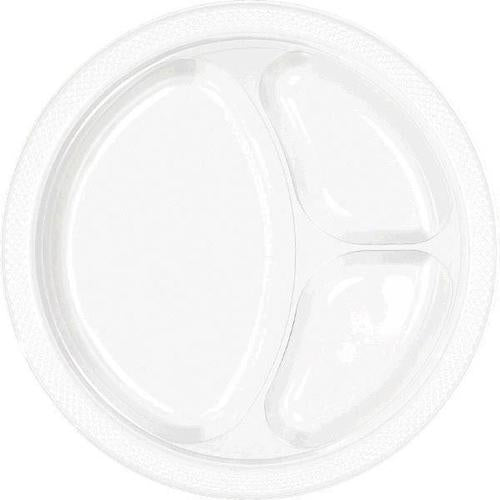 "Frosty White 10 1/4""  Divided Plastic Plates 20ct - Amscan"