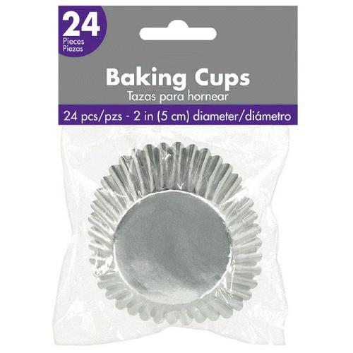 Cupcake Cases Metallic Silver 24ct - Amscan
