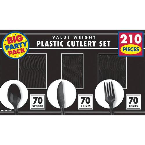 Jet Black Cutlery Set 210ct - Amscan