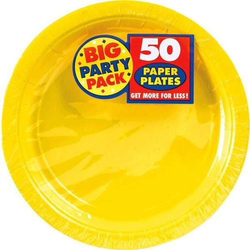 "Yellow Sunshine 9"" Paper Plates 50ct - Amscan"