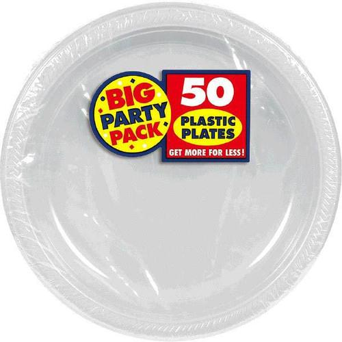"Silver 10 1/4"" Plastic Plates 50Ct - Amscan"