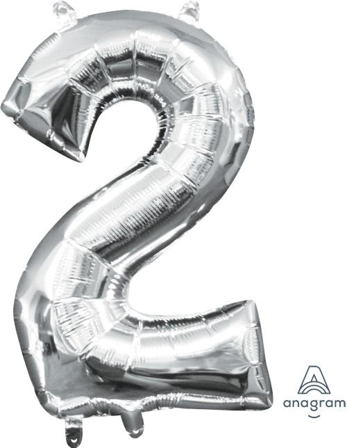 "Air-Filled Silver Number 2 16"" Balloon - Anagram"