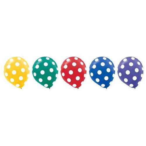 Latex Balloons Dots Primary All Over Print 20ct