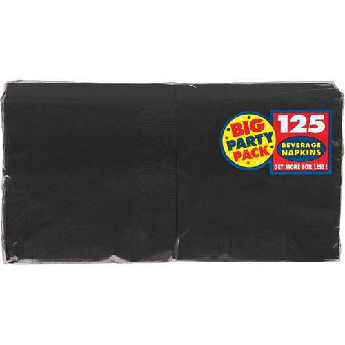 Jet Black Beverage Napkin 125ct - Amscan