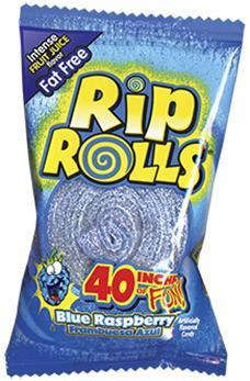 Blue Raspberry Rip Rolls 24/1.4oz - Foreign Candy Company