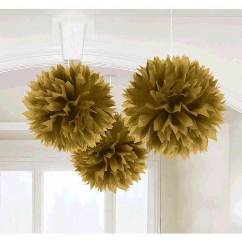 Gold Fluffy Decoration 3ct - Amscan