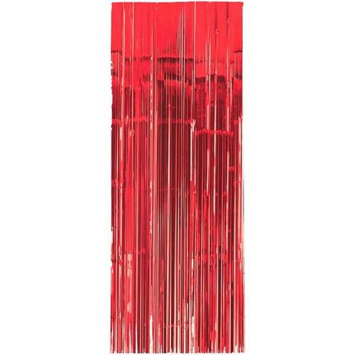 Apple Red Metallic Curtain 3'x8' - Amscan