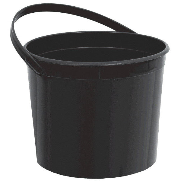 Plastic Bucket w/Handle Black - Amscan