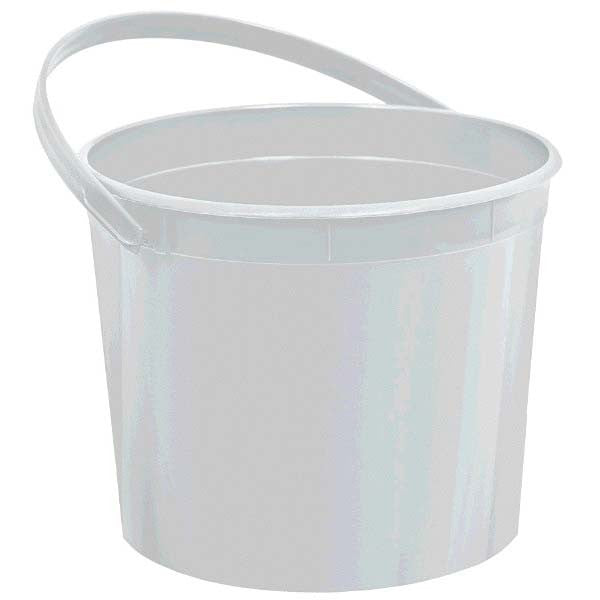 Plastic Bucket w/Handle Silver - Amscan