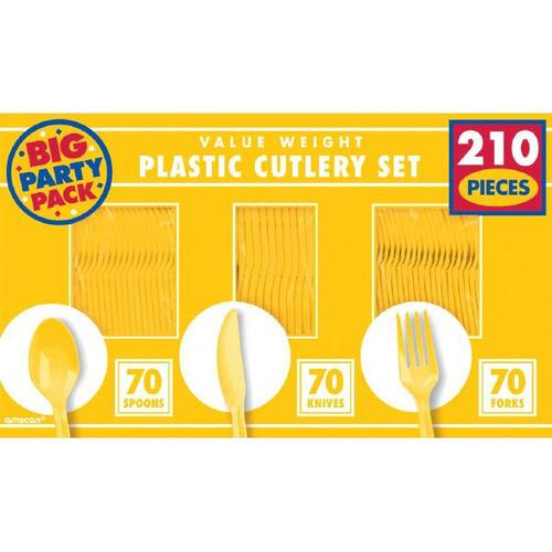 Yellow Sunshine Cutlery Set 210ct - Amscan