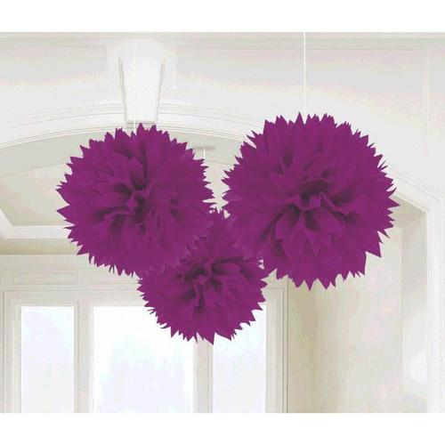 New Purple Fluffy Decorations 3ct - Amscan