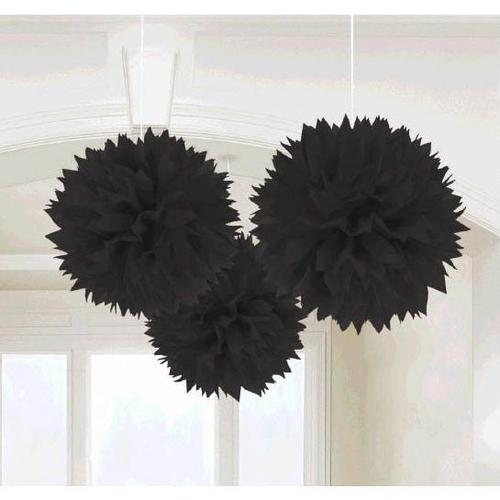 Black Fluffy Decorations 3ct - Amscan