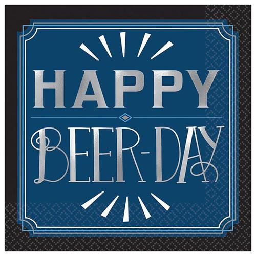 Happy Birthday Man Beer Day Beverage Napkin 16ct - Amscan