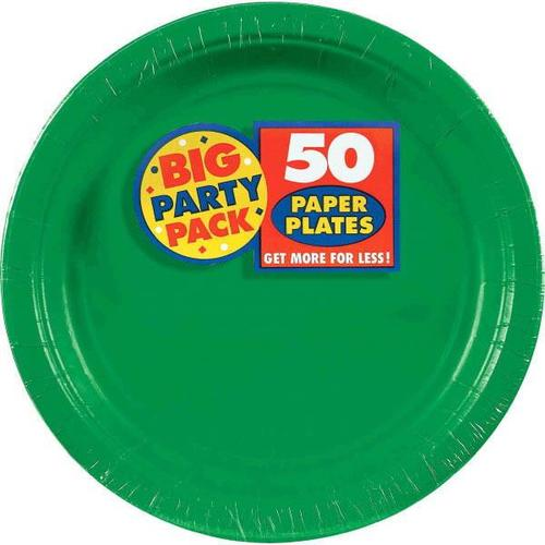 "Festive Green 9"" Paper Plates 50ct - Amscan"