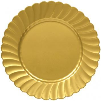 "Scalloped Plate 10 1/4"" Gold 12Ct - Amscan Inc."