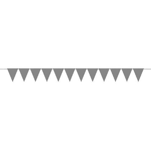 Mini Paper Pennant Banner Silver - Amscan