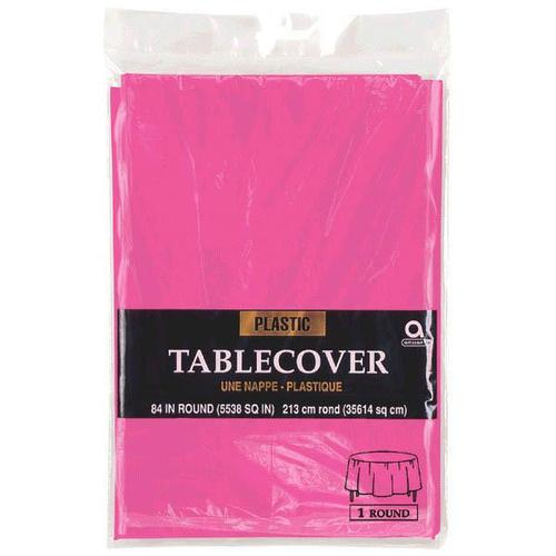 "Bright Pink 84"" Round Plastic Table Cover - Amscan"