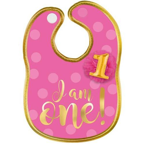 1st Birthday Pink Fabric Bib - Amscan