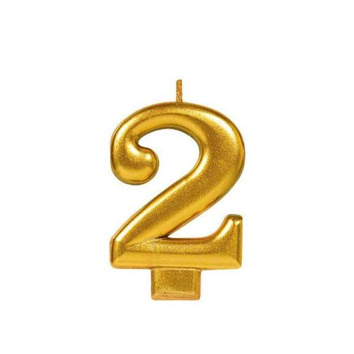 Numeral #2 Gold Metallic Candle - Amscan