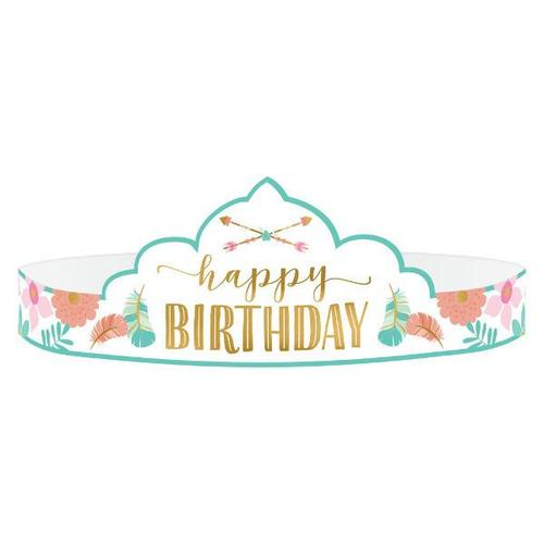 Boho Birthday Girl Paper Tiaras 8ct - Amscan