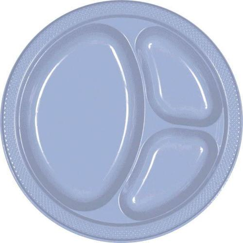 "Pastel Blue 10 1/4"" Divided Plastic Plates 20ct"
