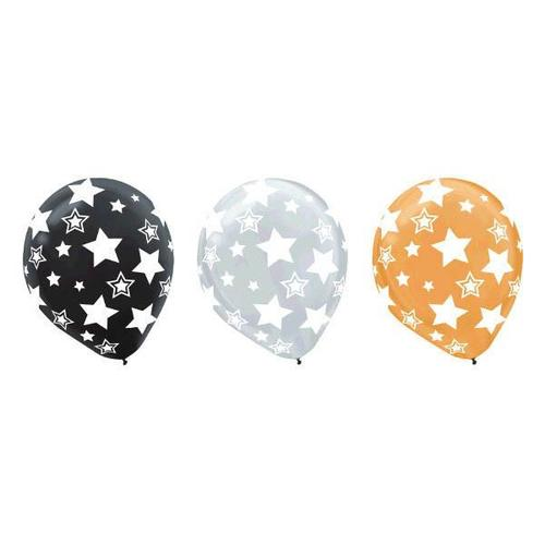 Latex Balloons Stars Black/Gold/Silver All Over Print 20ct