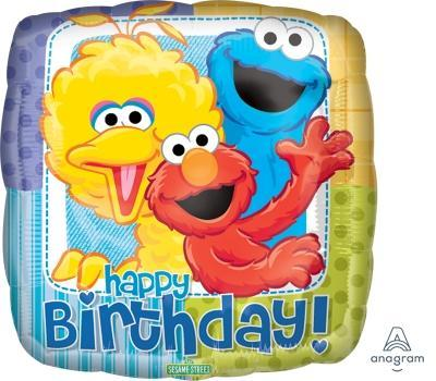 "17"" Sesame Street Birthday Foil Balloon - Flat - Anagram"